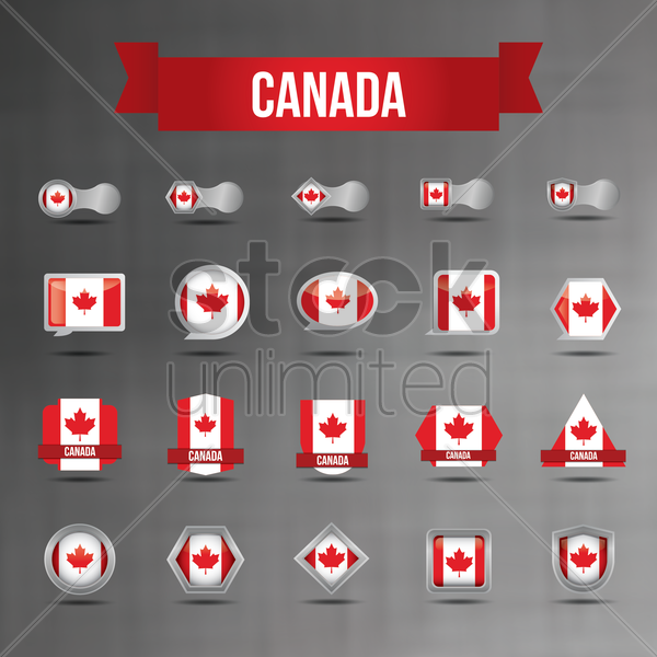 set of canada flag icons vector graphic