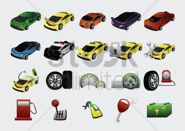 set of car icons vector graphic