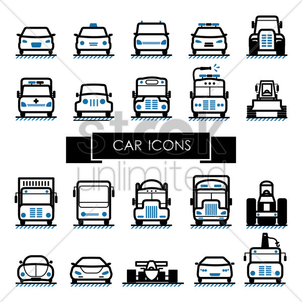 Free set of car icons vector graphic