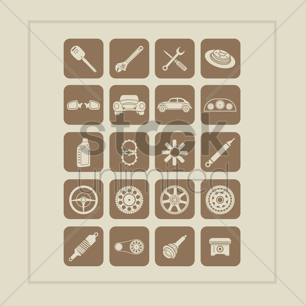 set of car parts icons vector graphic