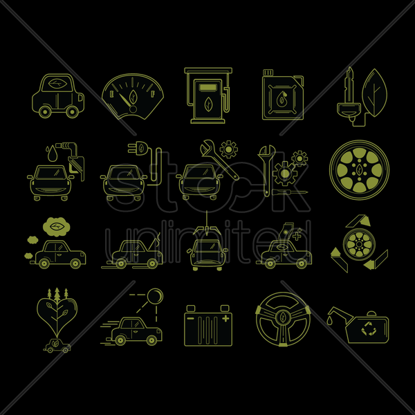 set of car service icons vector graphic