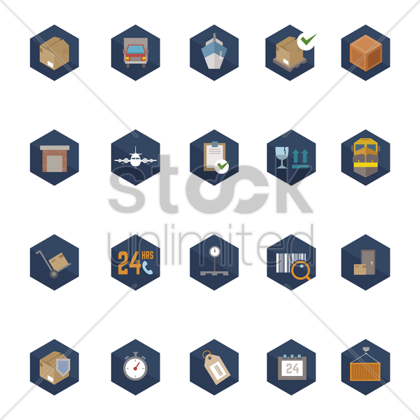 set of cargo items vector graphic