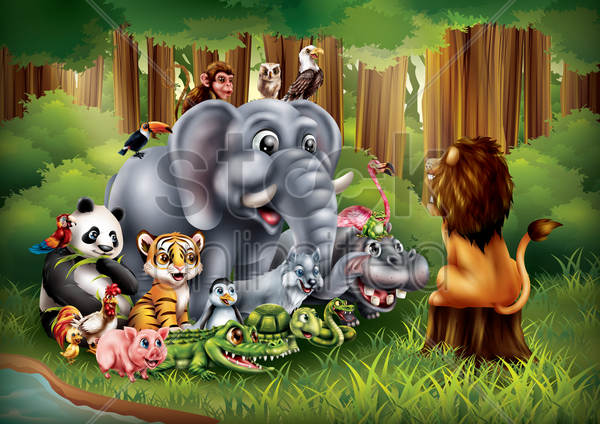 set of cartoon animals posing vector graphic