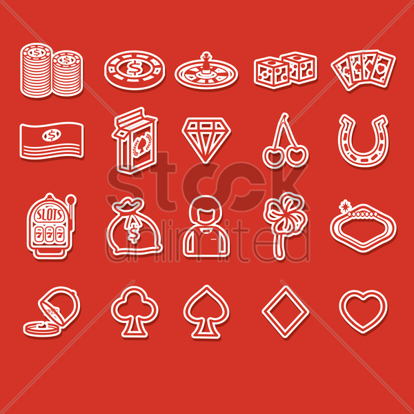 set of casino icons vector graphic