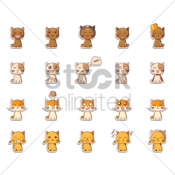 Free set of cat icons vector graphic