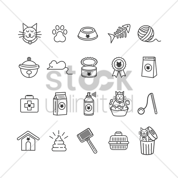 set of cat icons vector graphic