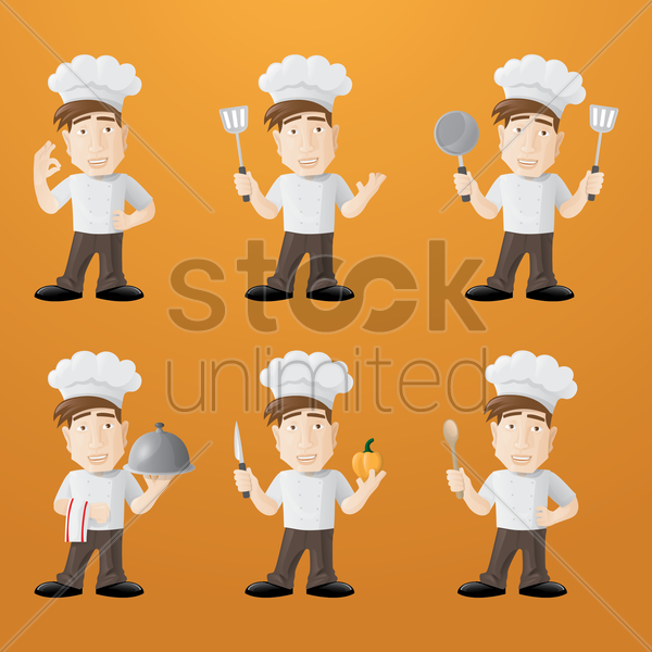 set of chefs vector graphic