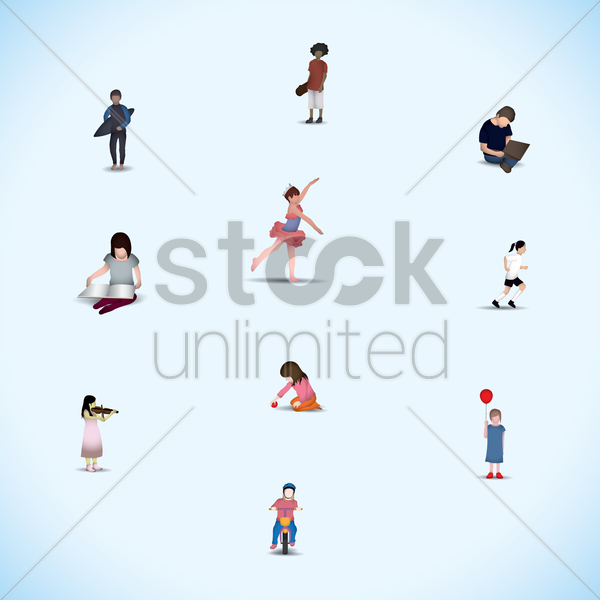 set of children with action vector graphic