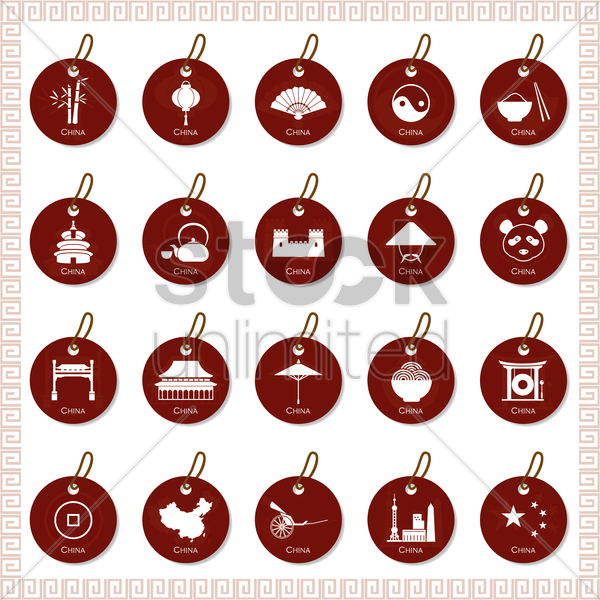 set of china tags vector graphic