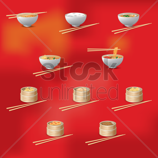 set of chinese dishes vector graphic