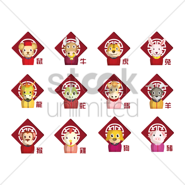 set of chinese zodiac icons vector graphic