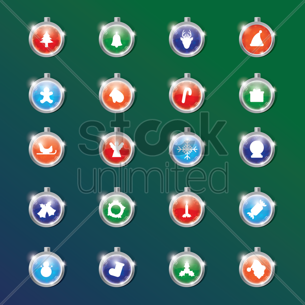 set of christmas bauble vector graphic
