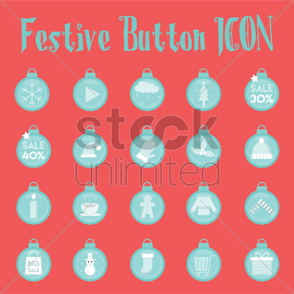 set of christmas decoration things vector graphic