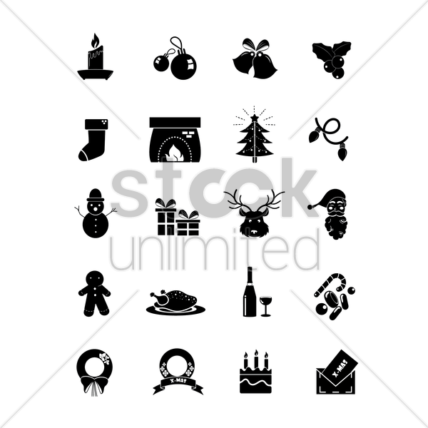 set of christmas icons vector graphic