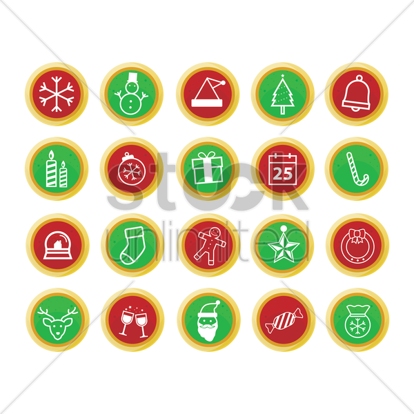 set of christmas web buttons vector graphic