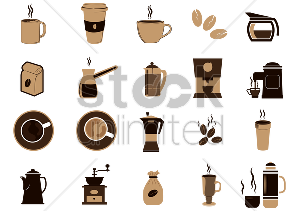 set of coffee equipment vector graphic