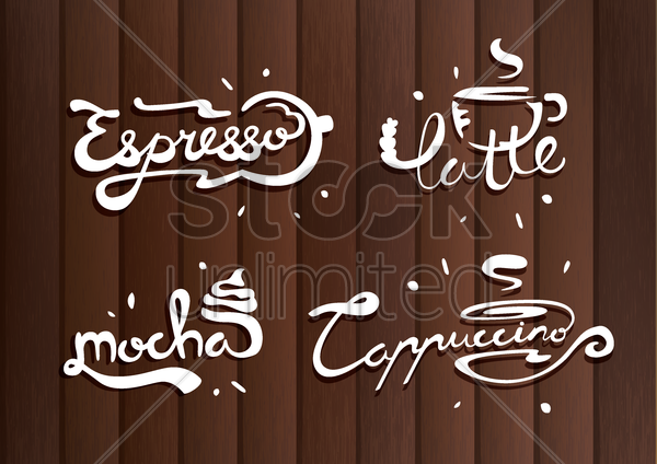 set of coffee flavors vector graphic