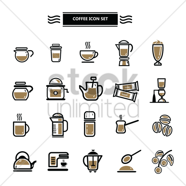 set of coffee icons vector graphic