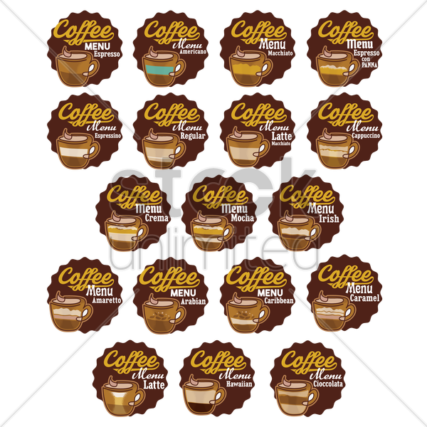 set of coffee labels vector graphic