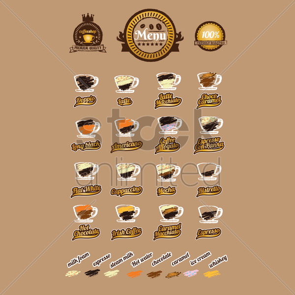 set of coffee types vector graphic