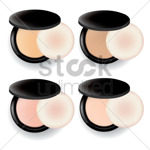 set of compact powders vector graphic