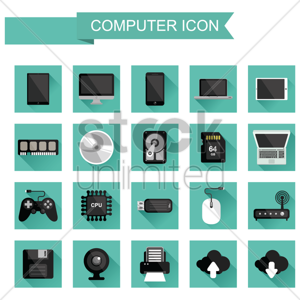 set of computer parts vector graphic
