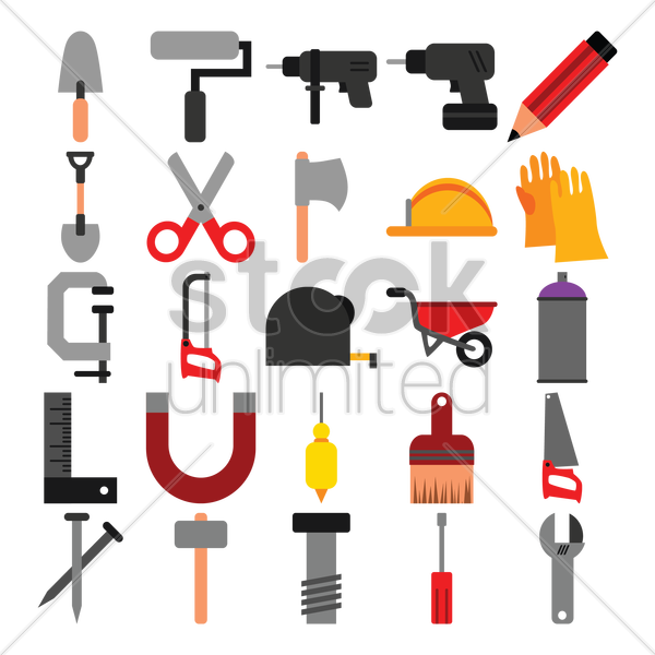 set of construction tools vector graphic