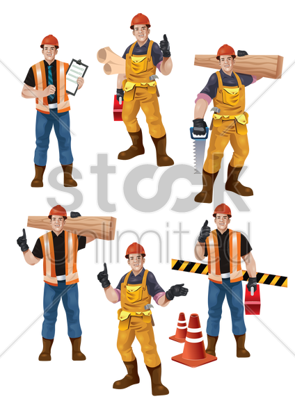 set of construction workers vector graphic