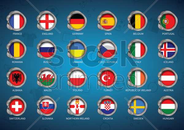 set of country flags vector graphic