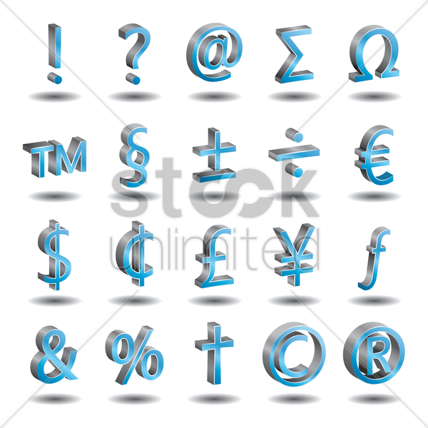set of currency and character symbols vector graphic