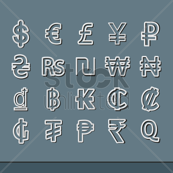 set of currency symbols vector graphic
