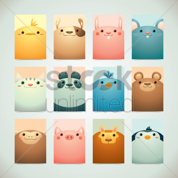 set of cute animals vector graphic
