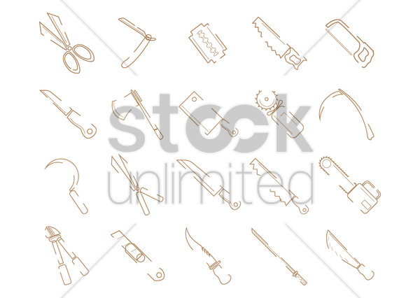 set of cutting tools vector graphic