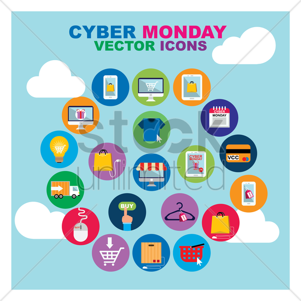 set of cyber monday icons vector graphic