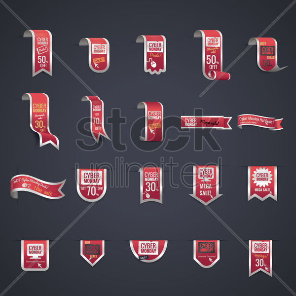 set of cyber monday sale banners vector graphic