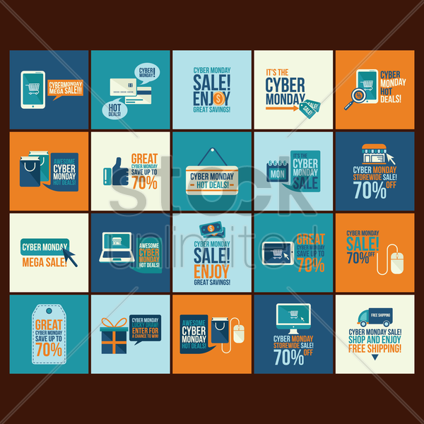 set of cyber monday sale icons vector graphic