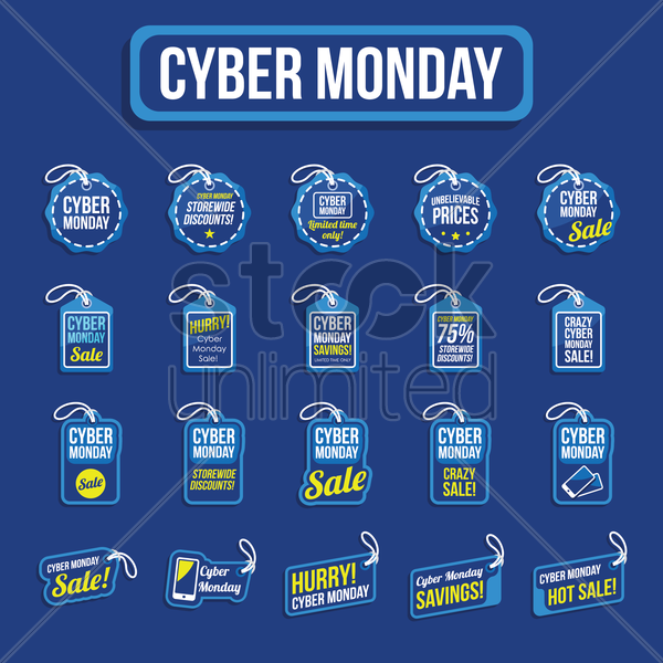 set of cyber monday sale tag vector graphic