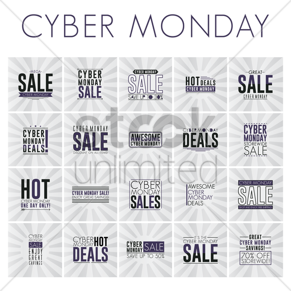 set of cyber monday sale wallpapers vector graphic