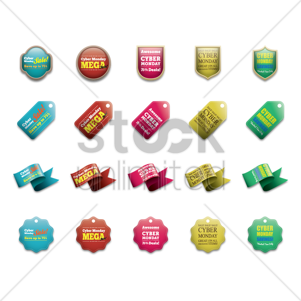 set of cyber monday sale vector graphic