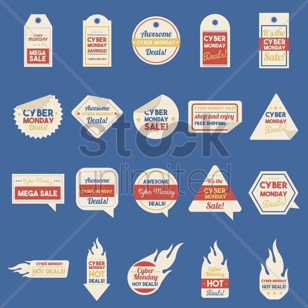 set of cyber monday sales icons vector graphic
