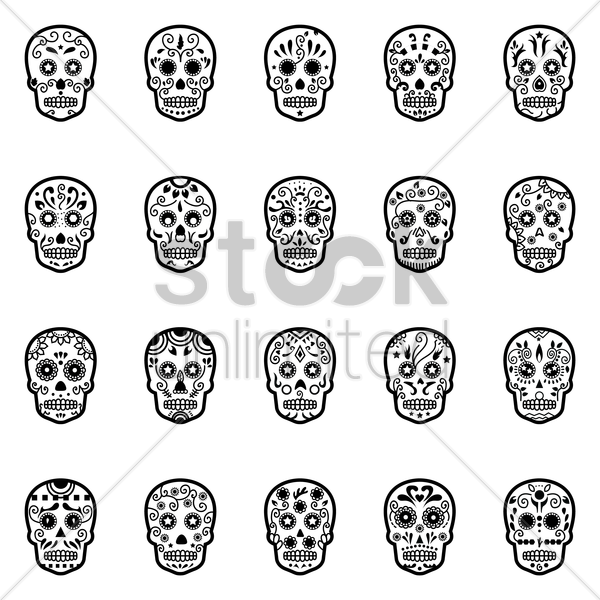 set of day of the dead skulls vector graphic