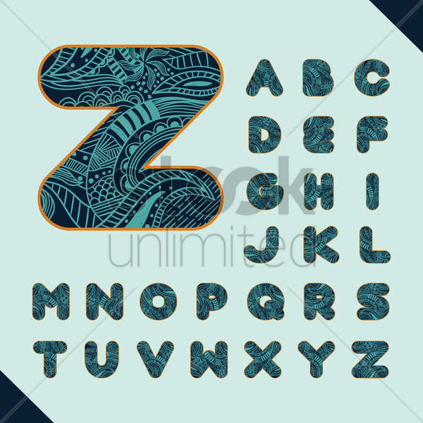 set of decorative alphabets vector graphic