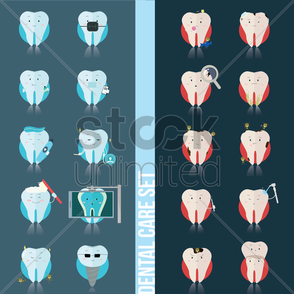 set of dental care icons vector graphic