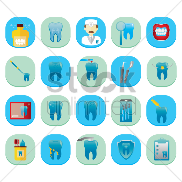 set of dental icons vector graphic
