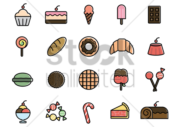set of dessert icons vector graphic