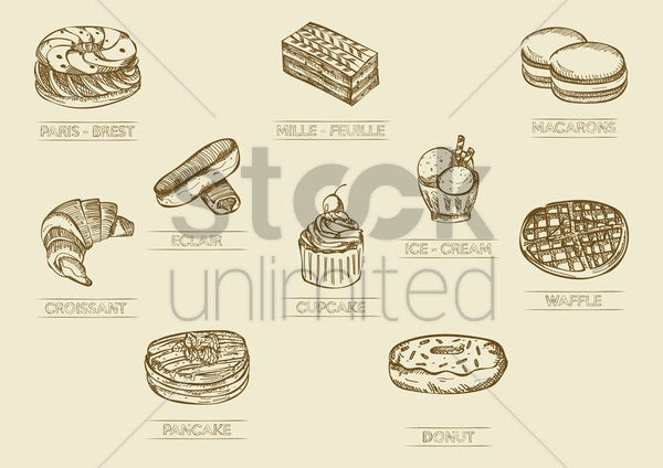 set of desserts vector graphic