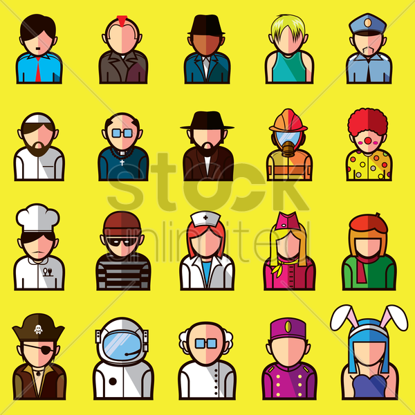 set of different professional avatars vector graphic