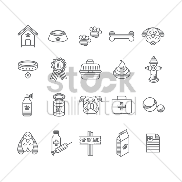 set of dog icons vector graphic