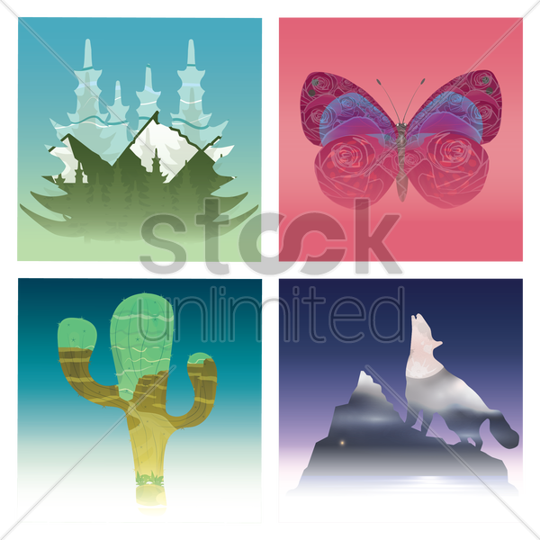 set of double exposure designs vector graphic
