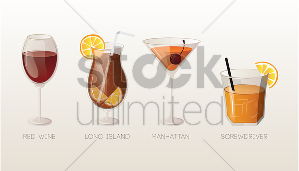 set of drinks vector graphic